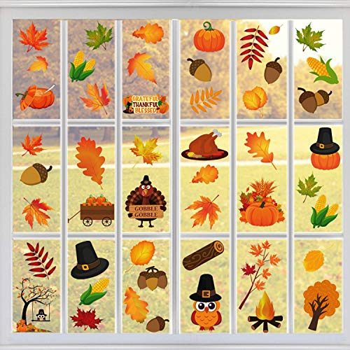 Tifeson Fall Thanksgiving Window Clings - Thanksgiving Decorations Autumn Leaves Window Sticker (74 PCS) - Window Decal Thanksgiving Party Decor