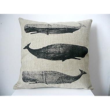 Decorbox Cotton Linen Square Decorative Fashion Throw Pillow Case Cushion Cover Black White Whales 18