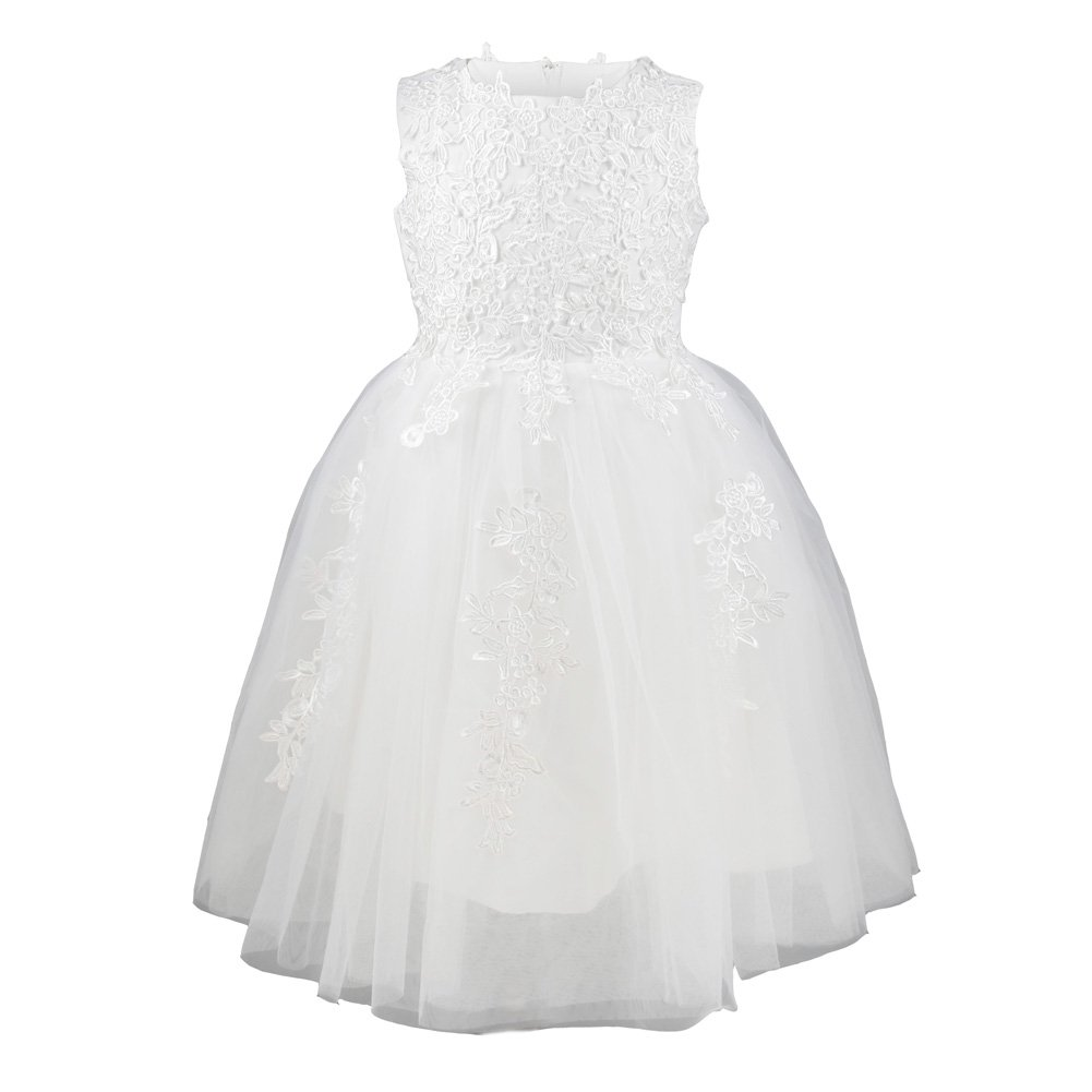 Amazon.com: Girls Princess Flower Lace Dress Wedding Party White Gown Bridesmaid Tulle Skirt, 14: Clothing
