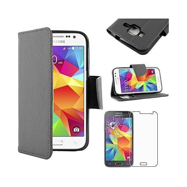 "ebestStar - Funda Compatible con Samsung Galaxy Core Prime SM-G360F, 4G G361F VE Carcasa Cartera Cuero PU, Funda Ranuras Tarjeta Stand, Negro + Cristal Templado [Aparato: 130.8x67.9x8.8mm 4.5""] 1"
