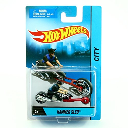 HAMMER SLED (Black/Red Cycle / Black Rider) MOTORCYCLE & RIDER Hot Wheels City Series 1:64 Scale 2013 Die-Cast ()