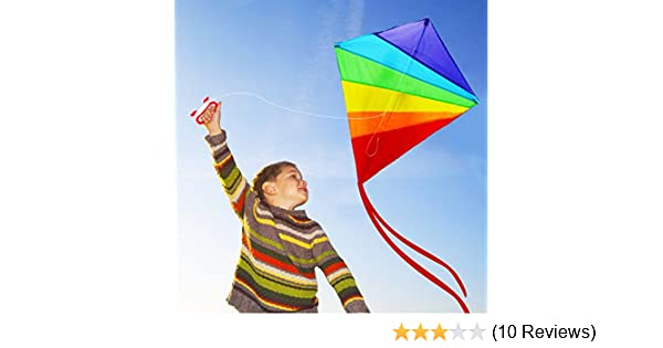 Easy to Fly and Assemble Colorful Kite with 300ft Line HappyToy Large Rainbow Kite for Kids and Adults