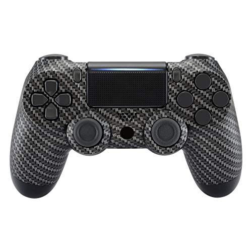 eXtremeRate The Black Silver Carbon Fiber Faceplate Cover, Soft Touch Grip Front Housing Shell Case for Playstation 4 PS4 Slim PS4 Pro Controller (CUH-ZCT2 JDM-040/050/055) - Controller NOT Included