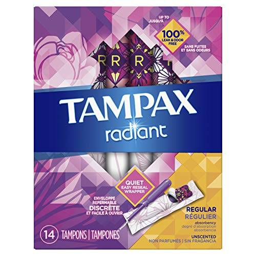 Tampax Radiant Plastic Tampons, Regular Absorbency, Unscented, 14 Count (Packaging May Vary)