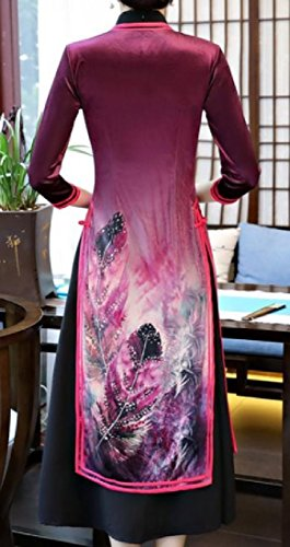 Pieces Coolred Slit Collar Women 2 Cheongsam Side Stand Pattern4 Floral Printed qqwYBZ1