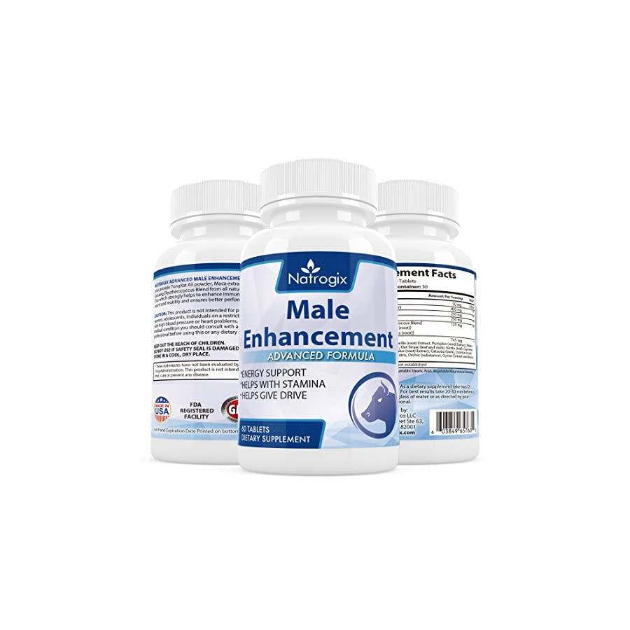 Natrogix Pure Male Enhancement Testosterone Booster w/ Tongkat Ali, Maca, Zinc Increase Energy Level, Sex Drive & Male Stamina Made in USA, FDA Certified Facility