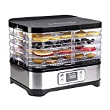 Micho 2018 Pro Smart Food Dehydrator with 5 Drying Trays, Electric Multi-Tier Fruit Vegetable Dryer, Adjustable Digital Temperature Settings, BPA Free Food Safe Plastic Material (Silver)
