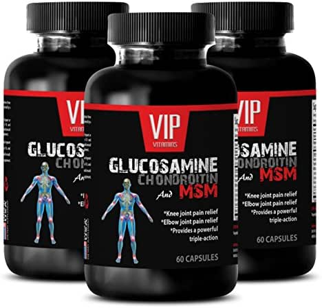 immune support booster - GLUCOSAMINE CHONDROITIN & MSM 3200MG - msm joint sulfur - 3 Bottles 180 Capsules