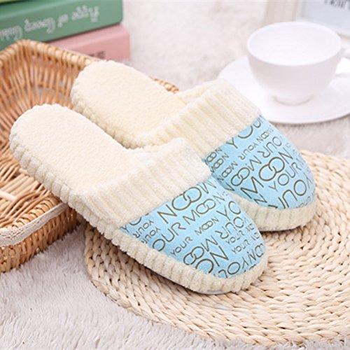 Slippers Maison Maison Intérieur 1 Imprimer Confortable Chaud Lettre Ciel Bleu Velours sur LUOEM 39 38 Slip Paire Corail Chaussures Pantoufles 8ABq6PPx