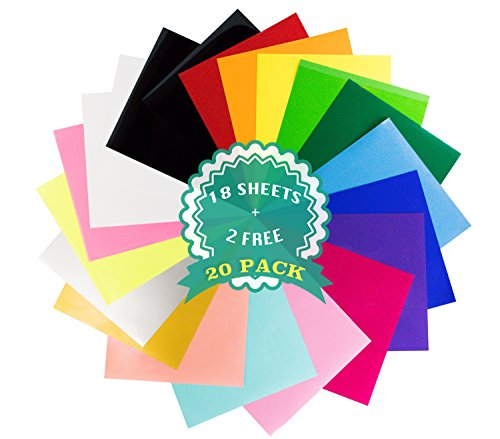 "Everyday Crafter Heat Transfer Vinyl Variety Bundle Pack 20 HTV Sheets 18+2 FREE -Assorted Colors incl. Neon, Pastel- 12"" x 10""- Use with Cricut, Silhouette Cameo, Heat Press"