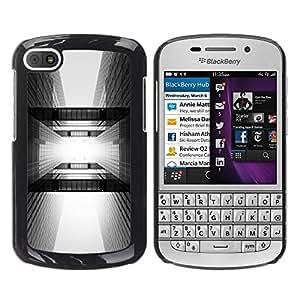 FECELL CITY // Duro Aluminio Pegatina PC Caso decorativo Funda Carcasa de Protección para BlackBerry Q10 // Architecture Black White City