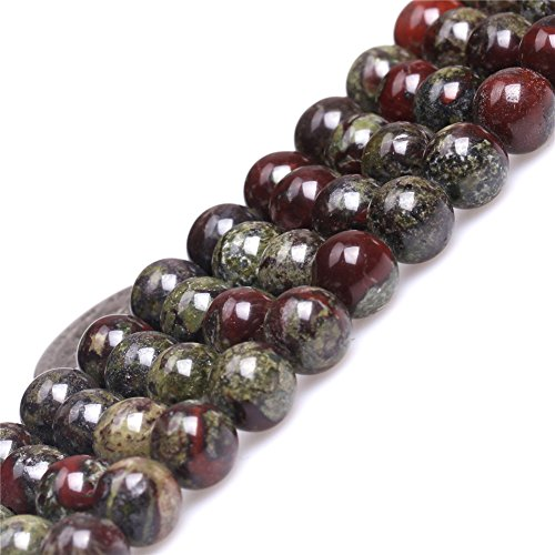8mm Natural Semi Precious Round Green Red Australia Blood Jade Gemstone Beads for Jewelry Making Strand (Jade Beads Strands)