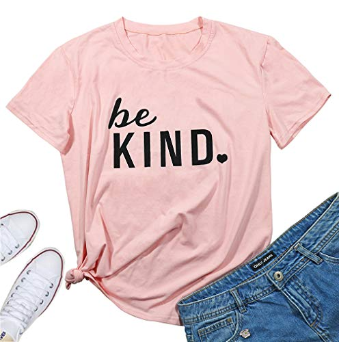 JINTING Be Kind Tshirt Cute Graphic Tee Shirt for Women Teen Girls Juniors Short Sleeve Letter Print Cute Graphic Tee Shirt Size M (Pink) ()