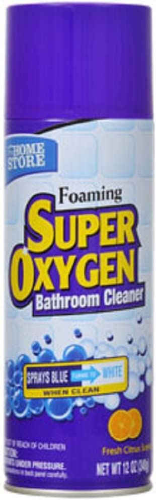 The Home Store Foaming Super Oxygen Bathroom Cleaner, 12-oz. Cans (12) Compare to Scrub Free Foaming Restroom Cleaner/Soap Scum Remover with OxiClean