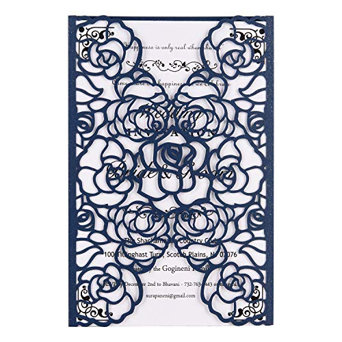 FOMTOR Laser Cut Invitations 40 Pack Navy Blue Laser Cut Invitation Card Kit with Blank Printable Paper and Envelopes for Wedding,Birthday Parties,Baby -