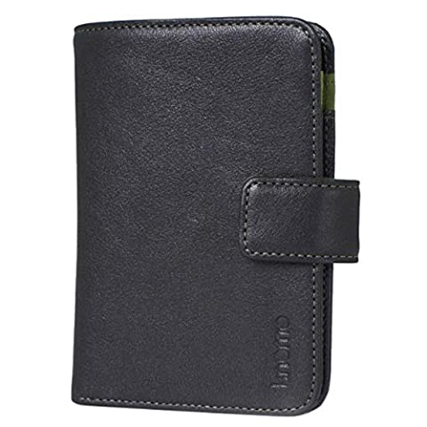 Knomo Luxurious Genuine Leather wallet with Pocket for Mobile Phone, MP3 Player, Earphones, Stationery, Notepad and Pencil or Tobacco and Papers Clip Popper Fastener (Brown) (Black)