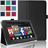 Kindle Fire 1st & 2nd Generation Cover Case - HOTCOOL Slim New PU Leather Case For Amazon Original Kindle Fire 2011 (Previous Generation - 1st) And Kindle Fire 2012 (Previous Generation - 2nd) Tablet(Will not fit HD or HDX models), Black