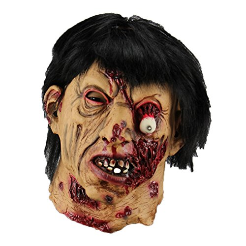 Hophen Halloween Horror Scary Creepy Zombies Mask Rot Face Props Scary Latex Black Hair Mask]()