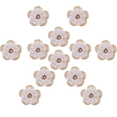 RUNMIND 12pcs Burlap Flowers DIY Craft Handmade Lace Flowers With Pearl Wedding Party Decor