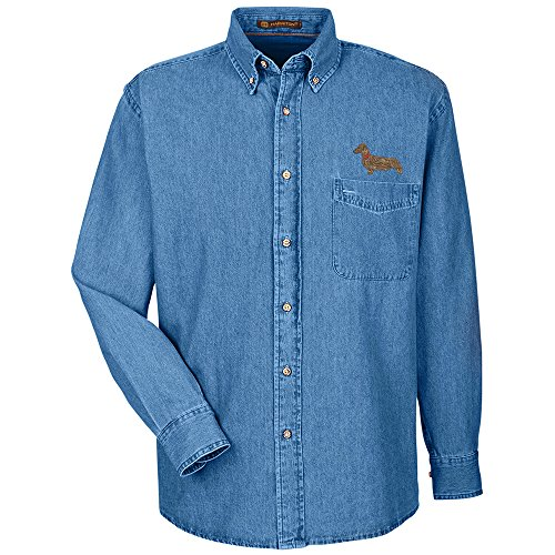 Miniature Denim Dachshund Shirt (YourBreed Clothing Company Dachshund Miniature Embroidered Men's 100% Cotton Denim Shirt)