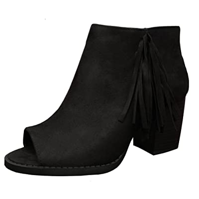 SODA Women's Sueded Fringe Peep Toe Chunky Stacked Heel Bootie (6 B(M) US, Black): Shoes