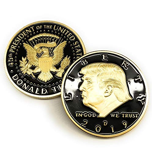 Aizics Mint Official Trump Coin: 2019 Donald Trump Large Black & Gold Eagle Commemorative 24kt Gold Plated Collectible Coin w/Certificate of Authenticity. 38mm. POTUS M.A.G.A. from Aizics Mint