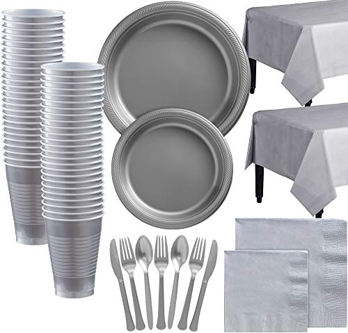 Party City Silver Plastic Tableware Kit for 100 Guests, 852 Pieces, Includes Plates, Napkins, Table Covers, and Utensils