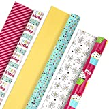 Hallmark Reversible Wrapping Paper Bundle (Birthday Flowers and Cupcakes, 3 Pack, 120 sq. ft. ttl)