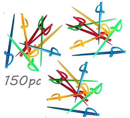 Sword Picks - 150pc Neon colors BPA-FREE Transparent SWORD 3