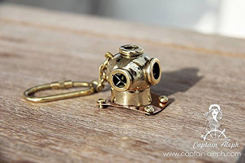 Antique Museum Old Antique Maritime Solid Brass Diving Diver's Helmet Key Ring Key Chain AMKC - Brass Helmet Keychain