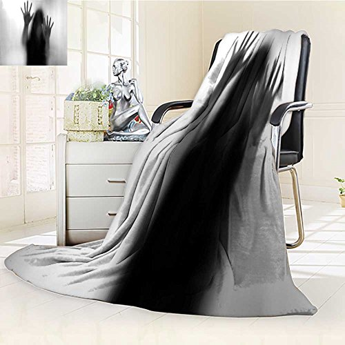 AmaPark Super Soft Lightweight Blanket Silhouette of Woman behind the Veil Scared to Death Obscured Paranormal Gray Oversized Travel Throw Cover Blanket by AmaPark