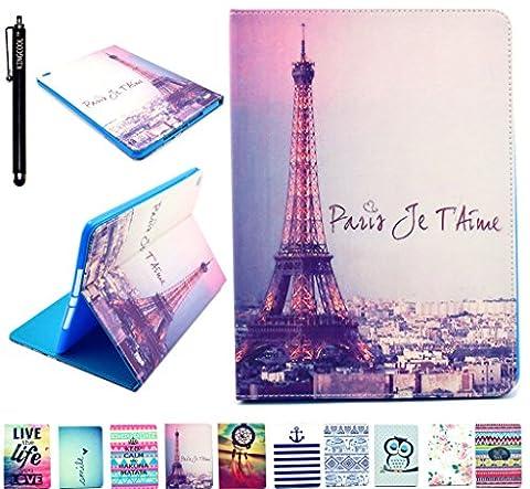 iPad Air 2 Case iPad 6 Case KINGCOOL(TM) Eiffel Tower Printed PU Leather Stand Case for Apple iPad Air 2 / iPad 6 (6th Generation (Ipad Air 2 Cover Printed)