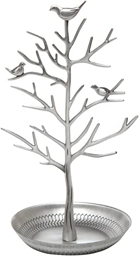 Eudaemonia life Beautiful Bird Tree Jewelry Stand Jewelry for Three Color Choice Buy for Mom ,Girls and Dear Friends Silvery
