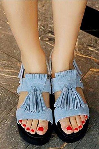 Easemax Womens Comfy Tassels Platform Mid Heels Sandals Blue j9Bc6DJ9W