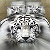 Wowelife 4PCS Cotton 3D Duvet Cover Set White Tiger King Printing Pattern Twin Full Queen Size 4 Pie