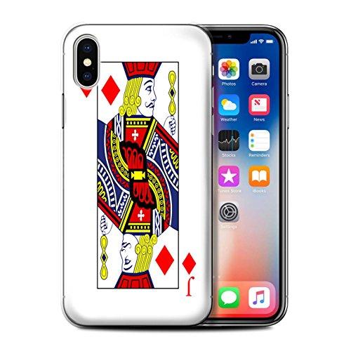 Funda/carcasa/carcasa/carcasa rígida/protección STUFF4 impresa con el diseño de cartas de juego para Apple iPhone X/10 – Jack de Quadri