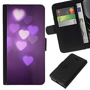 WINCASE Cuadro Funda Voltear Cuero Ranura Tarjetas TPU Carcasas Protectora Cover Case Para LG OPTIMUS L90 - luces púrpura oscura noche violeta