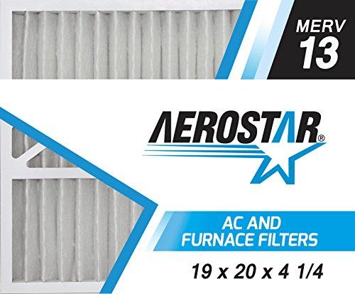 Aerostar 19x20x4 1/4 MERV 13, Pleated Air Filter, 19 X 20 X 4 1/4, Box of 2, Made in the USA