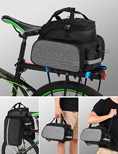 Lixada Bike Rear Bag Bicycle Pannier Bag Saddle Bag 25L Bicycle Rear Seat Bag Bike Carrier Trunk Bag Expandable Waterproof MTB Bike Rack Bag with Rain Cover