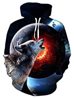 UNIFACO Unisex Realistic 3D Print Galaxy Pullover Hoodie Funny Pattern Hooded Sweatshirts w/Pockets for Teens Jumpers
