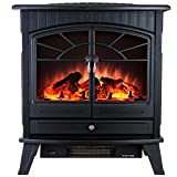 Cheap AKDY 23″ Tempered Glass 1500W Adjustable Freestanding Portable Logs Style Electric Fireplace Heater Stove