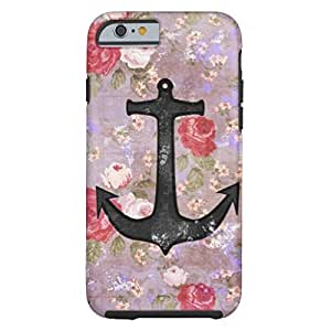Vintage Nautical Anchor Purple Pink Floral Pattern Tough iPhone 6 Case by mcsharks