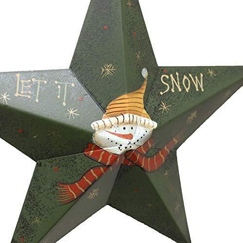 (Metal Star Barn Christmas Tree Ornaments 3D Star Barn Wall Decor Hand-Painted Snowman Xmas Hanging Decoration Holiday Decor (Green, Medium))