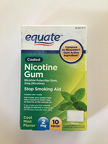 Equate Cool Mint Flavor Coated Nicotine Gum, 2mg, 10 count