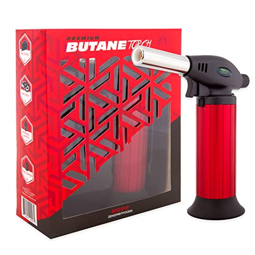Butane Torch - Butane Torch Lighter Refillable - Child Proof Lock - Professional Kitchen Hand Culinary Chef Mini Blow Torch - Perfect for Cooking, Food Melting, Sear, Creme Brulee, Glaze, Char, Baking.