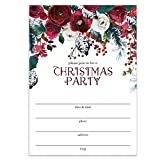 Red Christmas Party Invitations with Envelopes