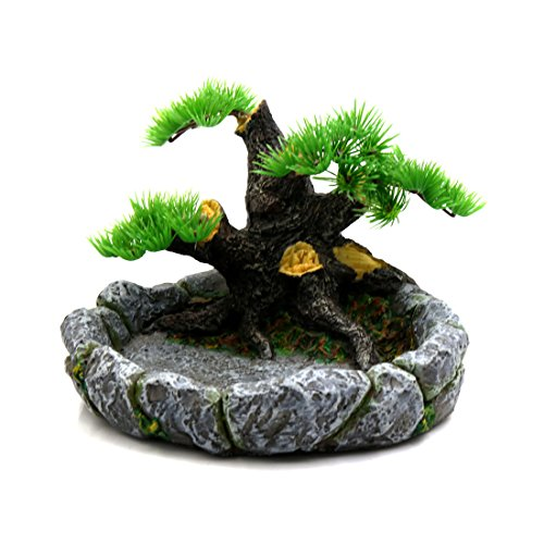(uxcell Resin Tree Designed Reptiles Feeding Bowl Water Food Holder Terrarium Landscape Decor Large Size)