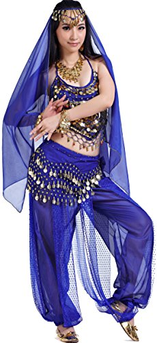 Athena YY Arabian Nights Costume Halloween Belly Dance Costume Blue, Aa5-piece Royal Blue, 4/8/10/12/14]()