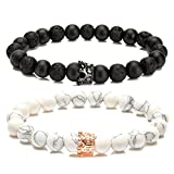 LYLYMIMI Couples Bracelet for Men Women King and Queen Bracelets with Crown Matte Lava Rock Stone (2 Pcs)