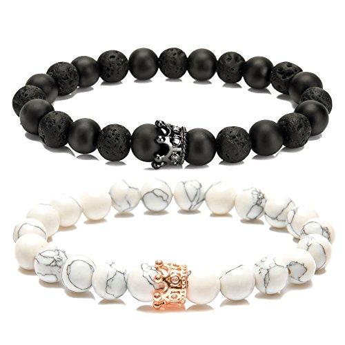 LYLYMIMI Couples Bracelet for Men Women King and Queen Bracelets with Crown Matte Lava Rock Stone (2 - Queens And Kings Shop